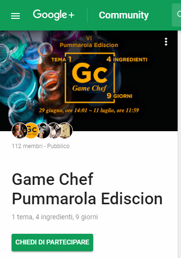 Game Chef Pummarola Ediscion: Community Google+