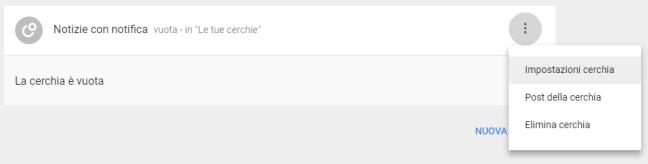 Google+: Impostazioni della cerchia