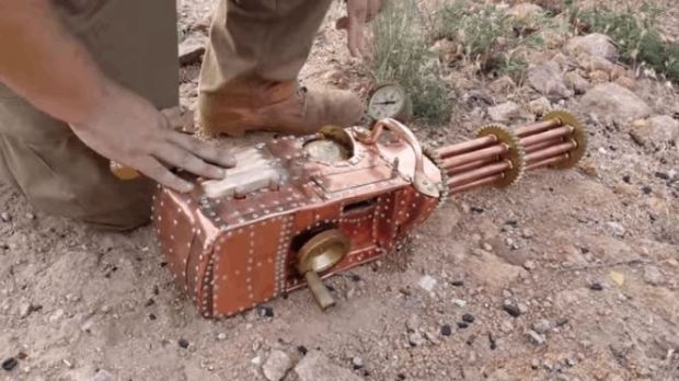 Man Builds Functional Steampunk Gatling Gun
