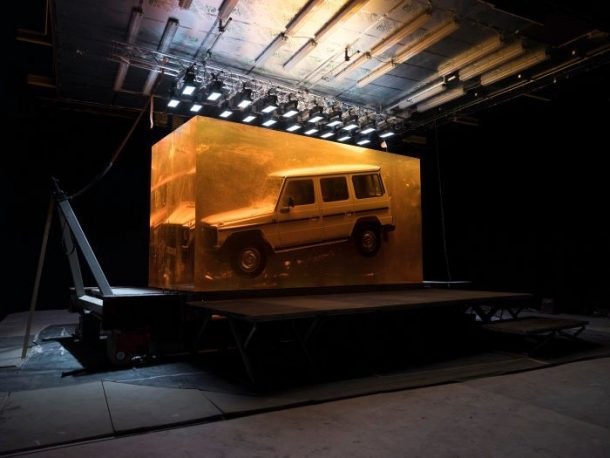 Mercedes Froze A 1979 G-Class SUV Inside 44.4 Tons Of Synthetic Resin