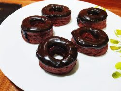 Whole wheat red velvet donut