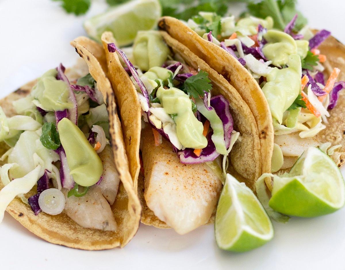 Tex-Mex Fish Tacos with guacamole