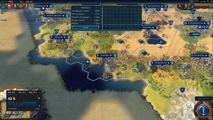 Prueba de RX 5700 XT en Civilization VI