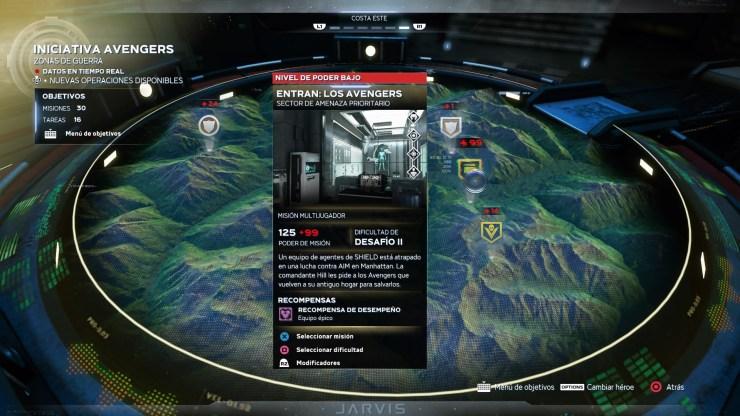Tipos de misiones Iniciativa Avengers juego