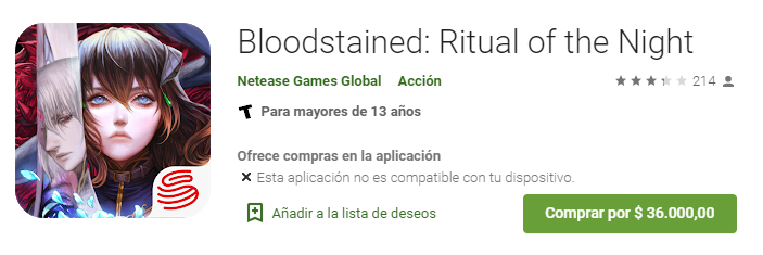 bloodstained google play android problemas
