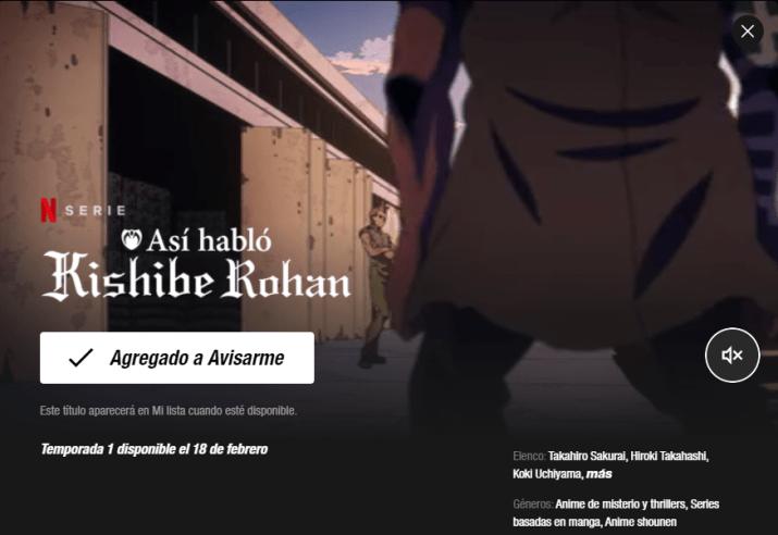 JoJo's Bizarre Adventure Así habló Kishibe Rohan español netflix ova one shots español