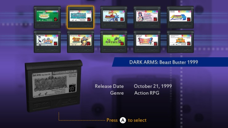 NeoGeo Pocket Color Selection Vol 1 Reseña Dark Arms Beast Buster  King of Fighters R-2