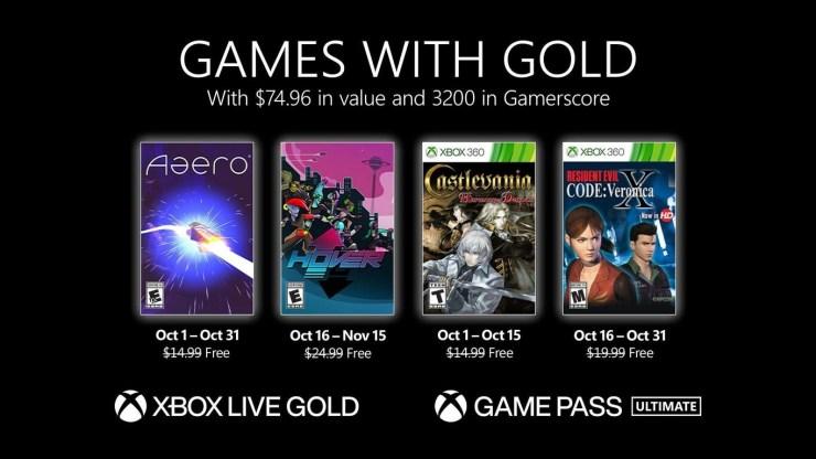 Games With Gold Xbox Live octubre 2021 juegos gratis Castlevania Resident Evil