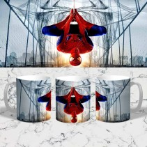 Spiderman Hanging Upside Down Bridge Mug