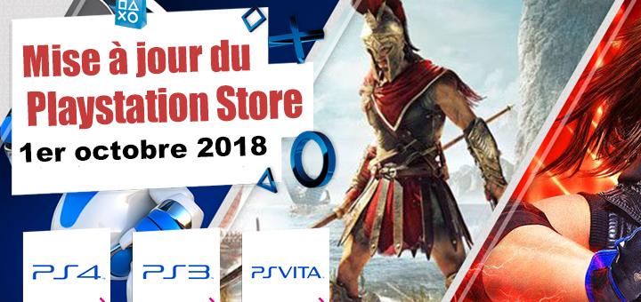 Playstation Store mise à jour du 1er octobre 2018