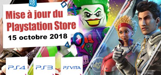Playstation Store mise à jour du 15 octobre 2018