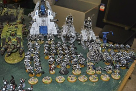 This is a professionally painted army that took hundreds of hours to paint. From this distance you really can't tell.