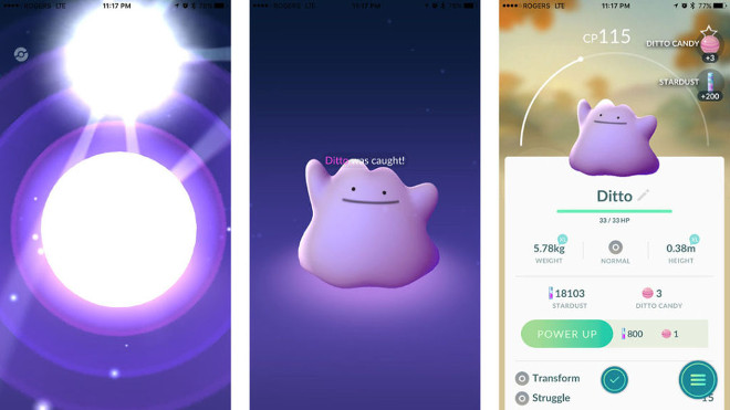 Catching a Ditto in Pokemon Go.