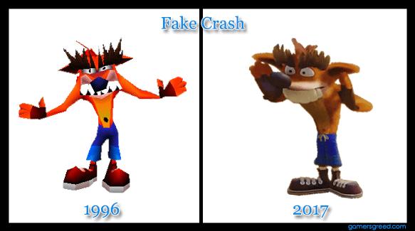 Crash Bandicoot N. Sane Trilogy Fake Crash aka Trash Bandicoot comparison