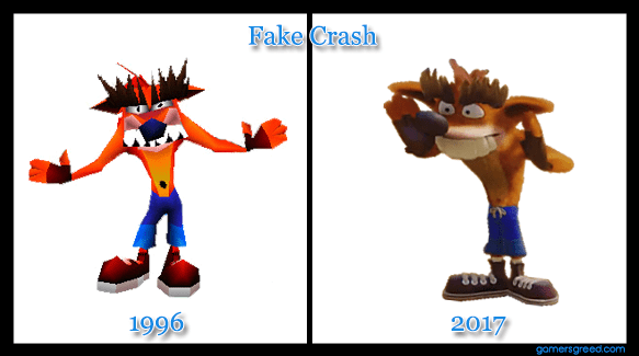 Crash Bandicoot N. Sane Trilogy Fake Crash aka Trash Bandicoot comparison