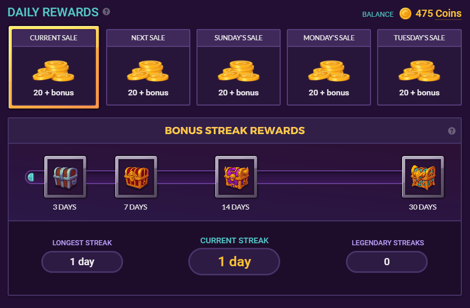 Chrono.gg daily chest bonus rewards sales