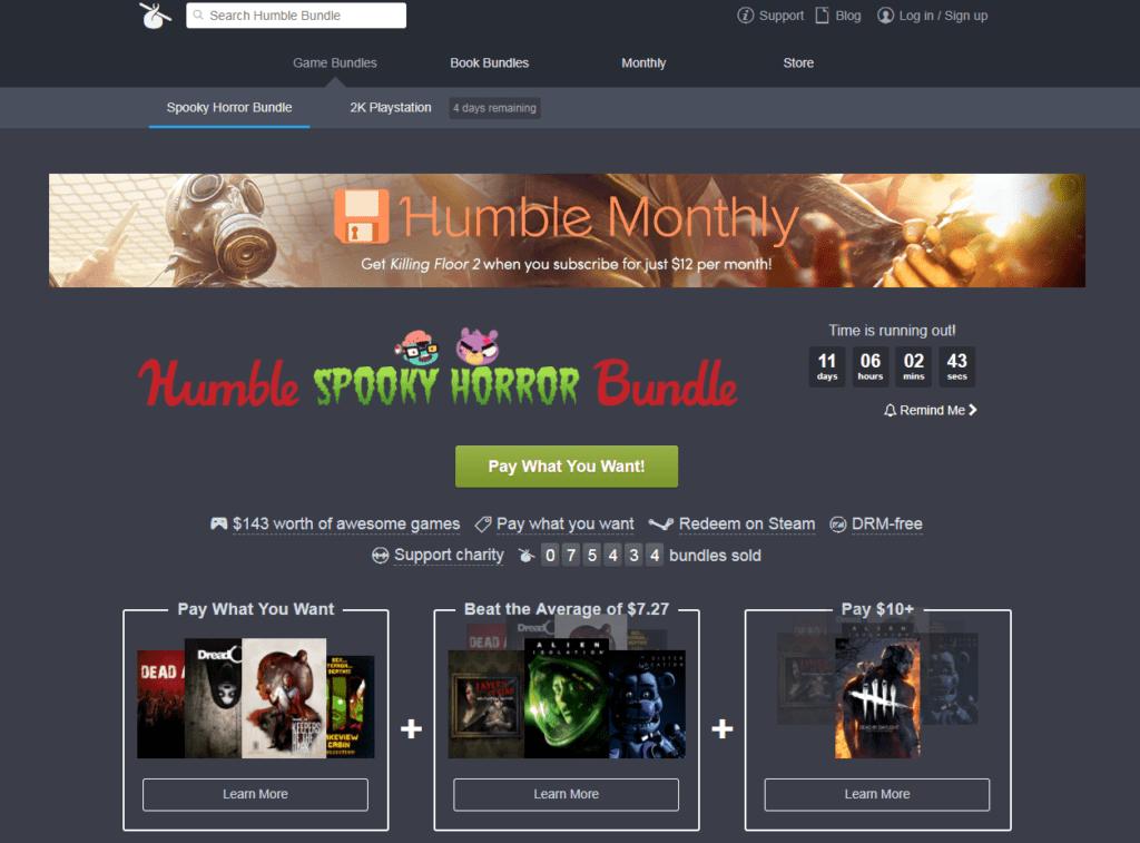 Humble Bundle front page screenshot pc game sales