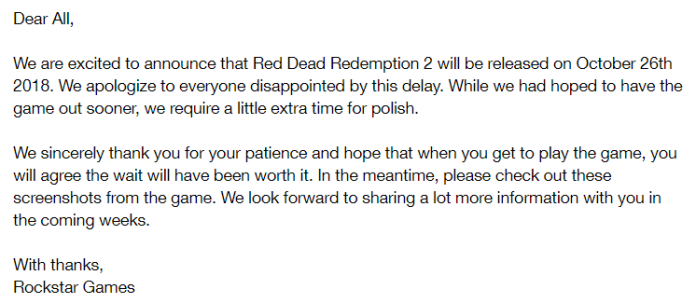 Red Dead Redemption 2 Rockstar Games delay article