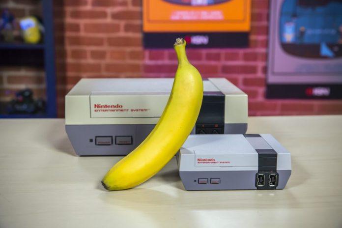 NES Classic Edition size comparison with the original NES