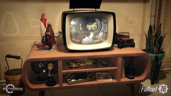 Fallout 76 trailer screenshot base building tv set