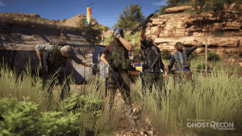 This image shows the squad of playable characters celebrating.