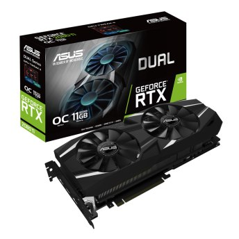 This image shows the ASUS GeForce RTX 2080 Ti graphics card along with its box.