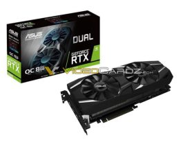 This image shows the ASUS GeForce RTX 2080 DUAL OC variant along with its box.