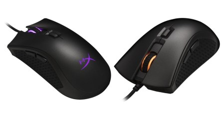 This image shows the HyperX Pulsefire FPS Pro RGB gaming mouse from the front and the back.