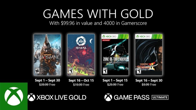 Xbox Gold Games for September Now Available