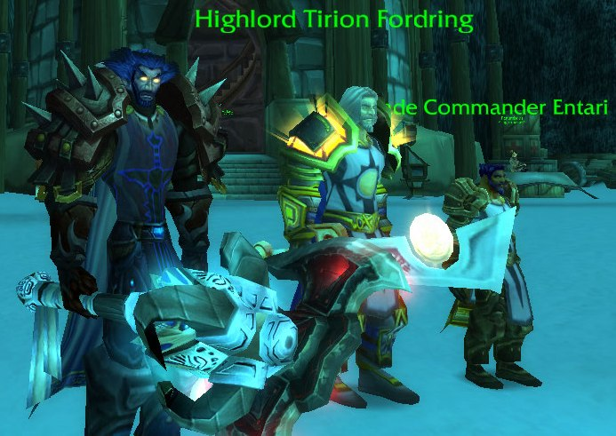 A long and arduous journey awaits us as we make our way to the gates of Icecrown Citadel. I, and the soldiers of the Argent Crusade, wish to thank you for all that you have done. We rest easier knowing that you will fight alongside us in this cursed place. (Highlord Tirion Fordring salutes.)