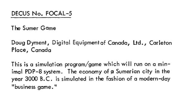 The sumerian game