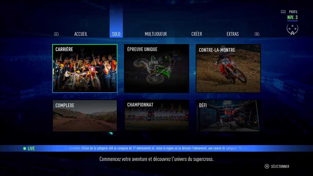 Menu_III_accueil Mon avis sur Monster Energy Supercross 3 - Attention à la chute !
