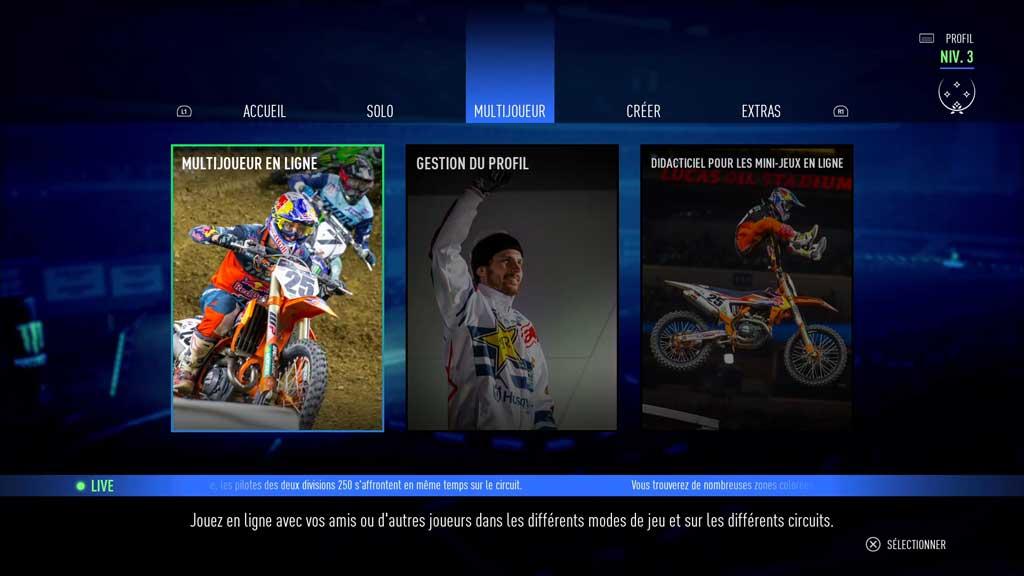Menu_II_accueil Mon avis sur Monster Energy Supercross 3 - Attention à la chute !
