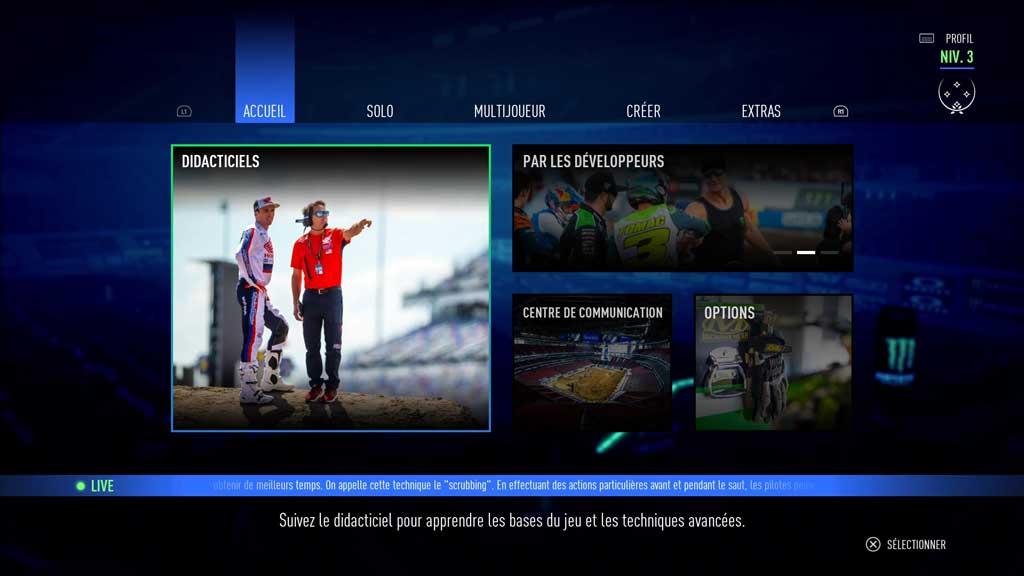 Menu_accueil Mon avis sur Monster Energy Supercross 3 - Attention à la chute !