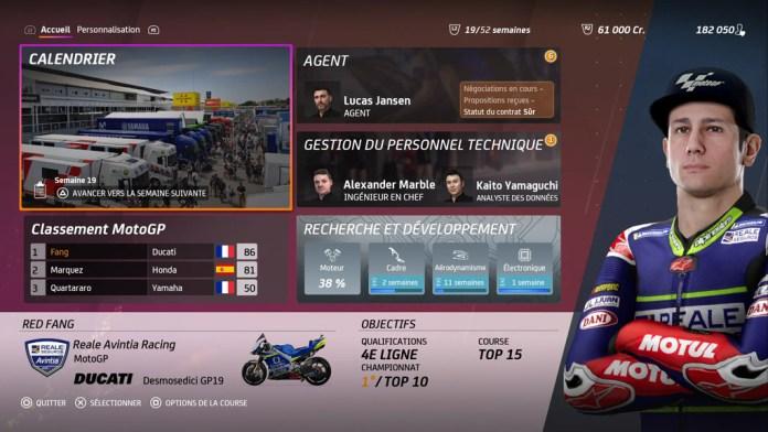 Menu_Carrirere_MotoGP20 Mon avis sur Moto GP20 - Wheeling power !