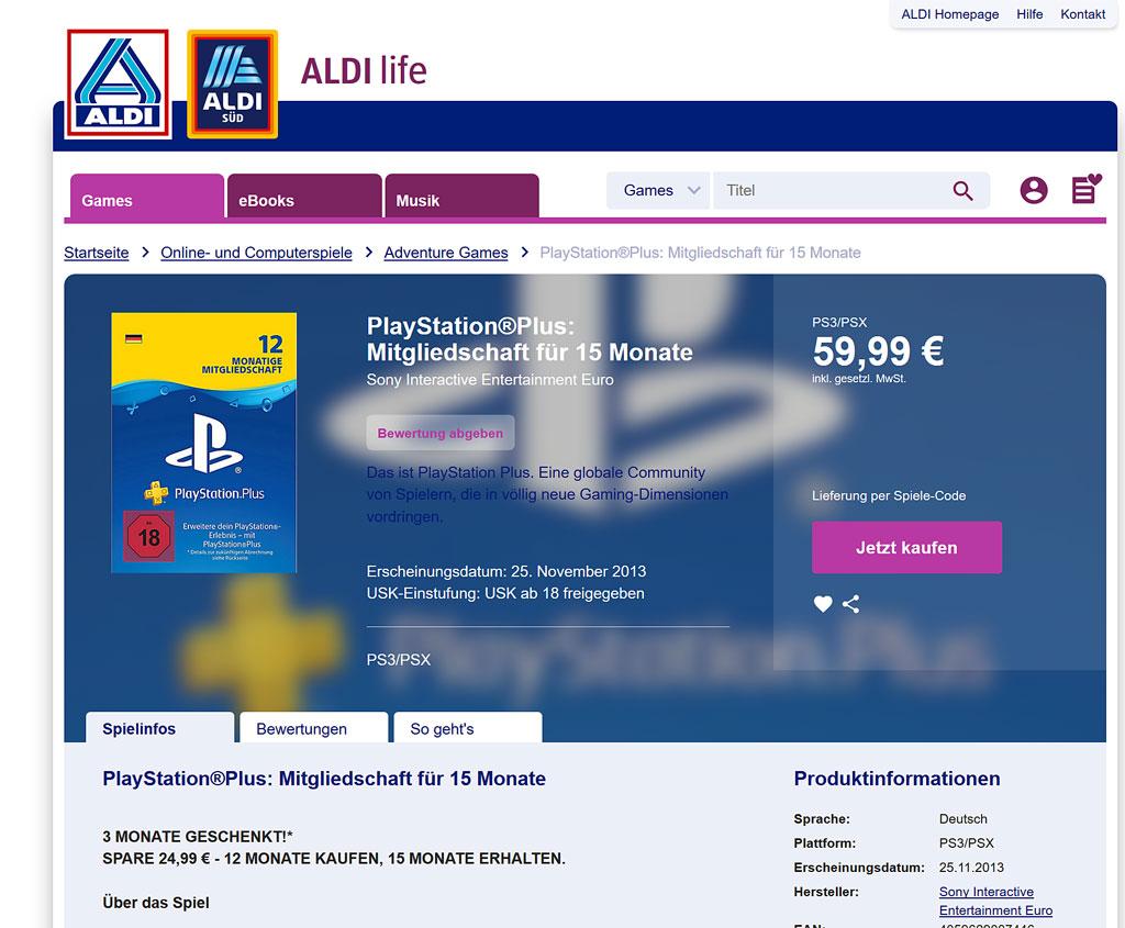 PlayStation Plus-Aktion bei Aldi