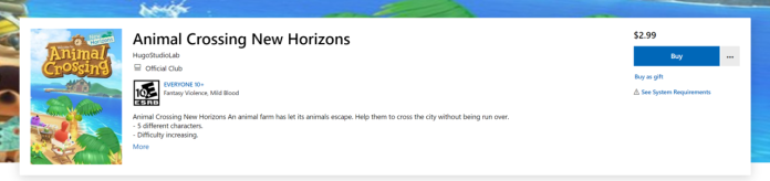 Microsoft Store listing for the fake Animal Crossing game.