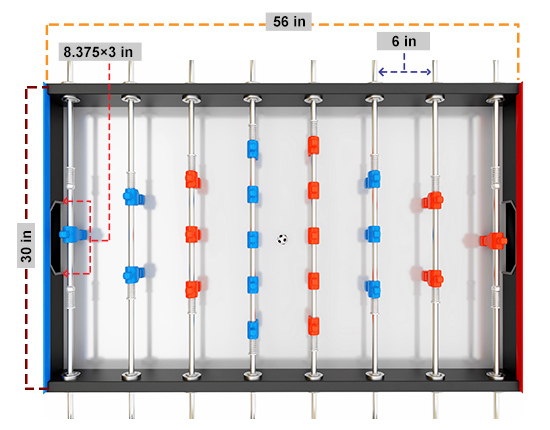 Official Full Size Foosball Table Dimensions Considerations - Regulation foosball table