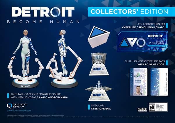 Die 27 cm große Statue wird von einem LED-Ring beleuchtet und besitzt gelenkige Arme. Die dreieckige Box (420 x 365 x 375 mm) ahmt die Herstellungs-Szene der Androiden in der CyberLife-Fabrik nach.  Die exklusive PC-Collector's Edition von Detroit: Become Human ist bei Amazon verfügbar.  Detroit: Become Human ist ein überragender Erfolg auf vielen Ebenen: Großartige Kritiken und weltweit mehr als fünf Millionen verkaufte Exemplare sprechen für sich. In einer nahen Zukunft, in der Maschinen intelligenter geworden sind als die Menschheit, beeinflussen die Entscheidungen des Spielers die Geschichte. Der Titel besitzt zweifellos eine der eindrucksvollsten, jemals geschrieben Storys der Videospielgeschichte.