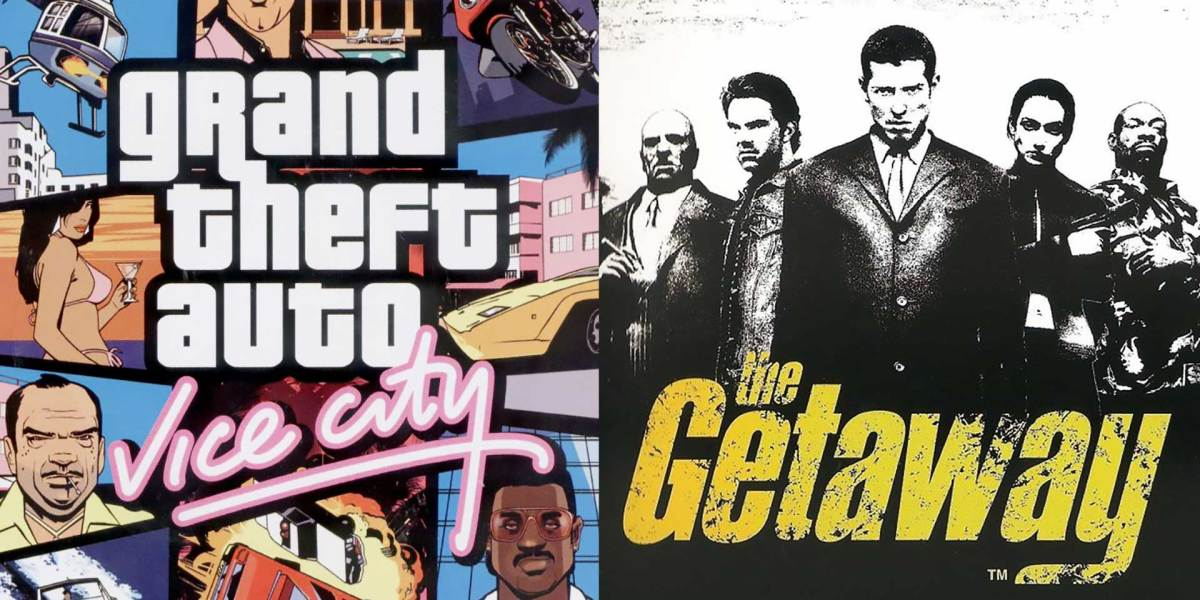The covers of Grand Theft Auto: Vice City and The Getaway.