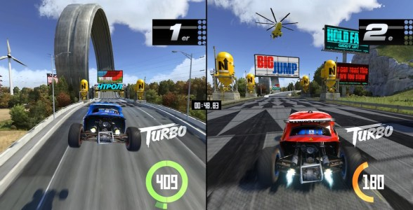 Selbst im Splitscreen sieht TrackMania hervorragend aus