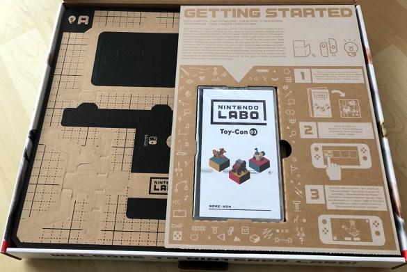 Der erste Blick in den Karton von Nintendo Labo Toy-Con #3