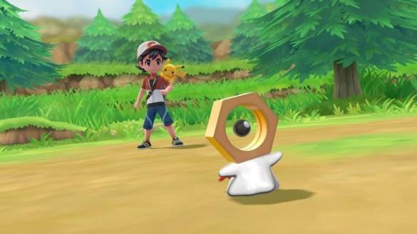 Meltan und der Protagonist (m) mit Pikachu in Pokemon Let's Go Pikachu