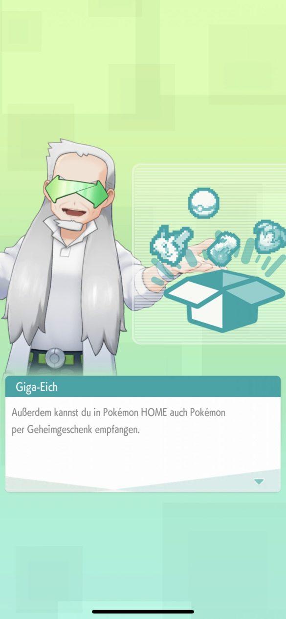 Giga-Eich führt euch in die Pokémon Home-App