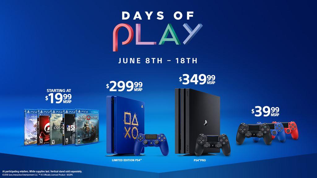 playstation days of play 2018 promo includes limited edition blue ps4 psvr bundles more. Black Bedroom Furniture Sets. Home Design Ideas
