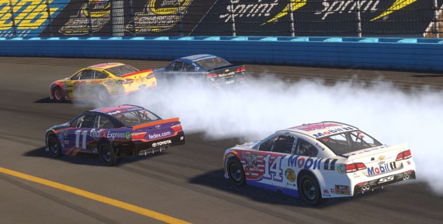 Cars racing in tight proximity to one another with tire smoke off the #22 of Joey Logano.