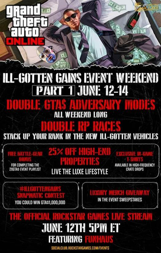 GTA Online Announces ILL-GOTTEN GAINS Event Weekend Part One June 12-14