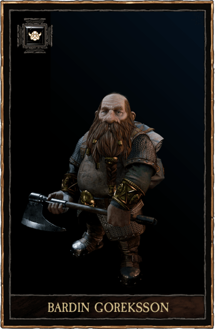 He may be the shortest in the group of heroes, but the Dwarf Ranger Bardin Goreksson certainly makes up for it in ferocity, determination and spirit. Gregarious, prideful and not afraid to offend, Bardin is frequently  seen charging into the thick of battle,  axe or hammer in full swing and leaving a trail of Skaven corpses behind him. Once the victory is assured, he will be the first back to the pub, roaring and laughing at the top of his lungs in a manner only is a dwarf is capable of.