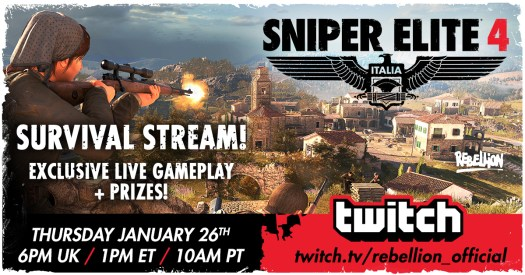 SNIPER ELITE 4 Exclusive Live Gameplay & Prizes on Twitch Today