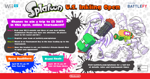 Show Off Your Skills in the Splatoon U.S. Inkling Open Tournament for a Chance to Win Trip to E3 2017